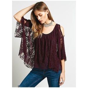 Free People •lost in Austin cold shoulder lace top